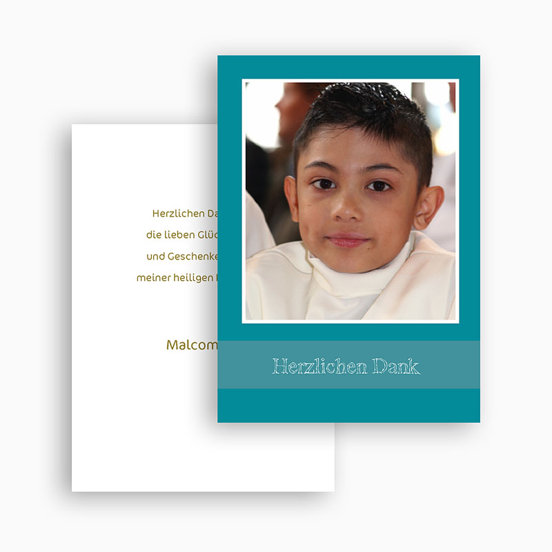 Dankeskarten Kommunion Jungen - Gestreift 21376 thumb