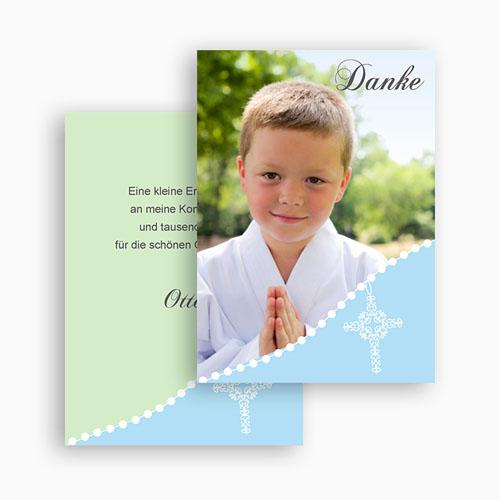 Dankeskarten Kommunion Jungen - Blau Gepunktet 21392 preview