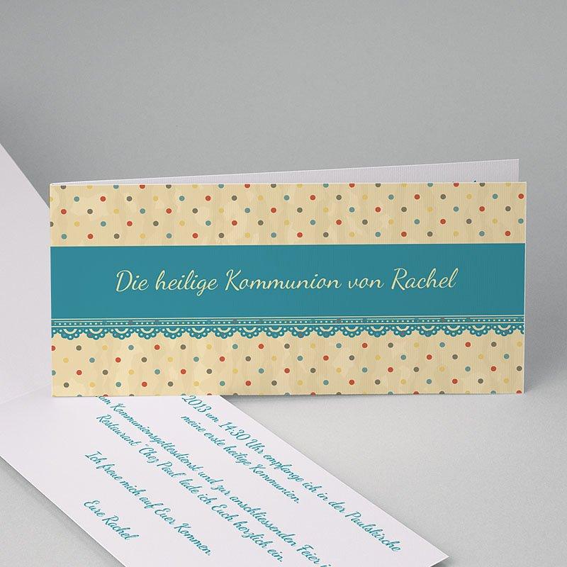 Einladungskarten Kommunion fur Mädchen Gepunktet