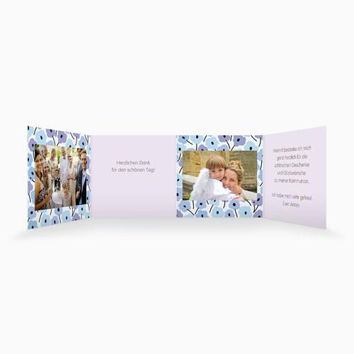 Dankeskarten Kommunion Mädchen - Blumen Leporello  21498 preview