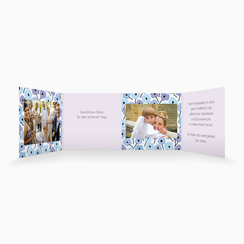 Dankeskarten Kommunion Mädchen - Blumen Leporello  21498 thumb