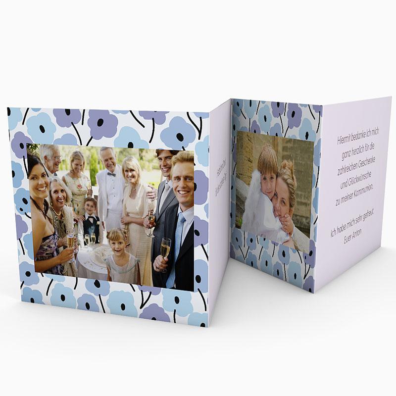 Dankeskarten Kommunion Mädchen - Blumen Leporello  21499 thumb