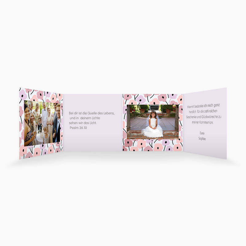 Dankeskarten Kommunion Mädchen - Leporello Romance 21516 thumb