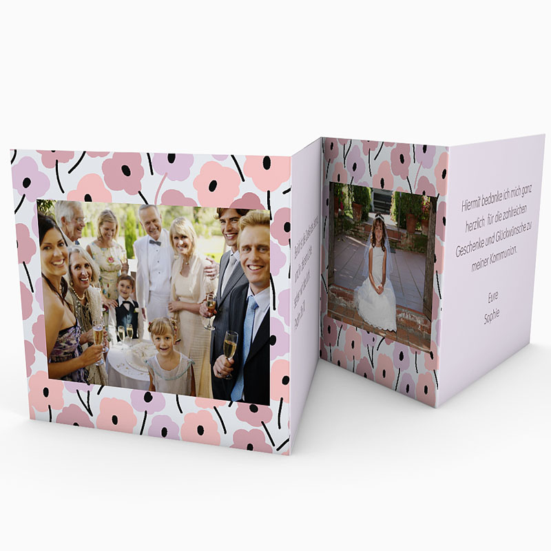 Dankeskarten Kommunion Mädchen - Leporello Romance 21517 thumb