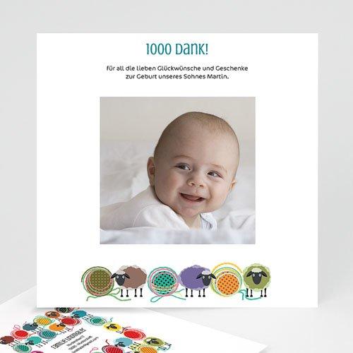 Dankeskarten Geburt Mädchen - Schafherde 21559