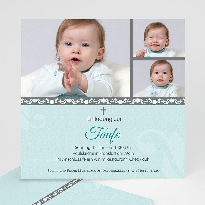 Einladungskarten Taufe Jungen   Blaues Design   1