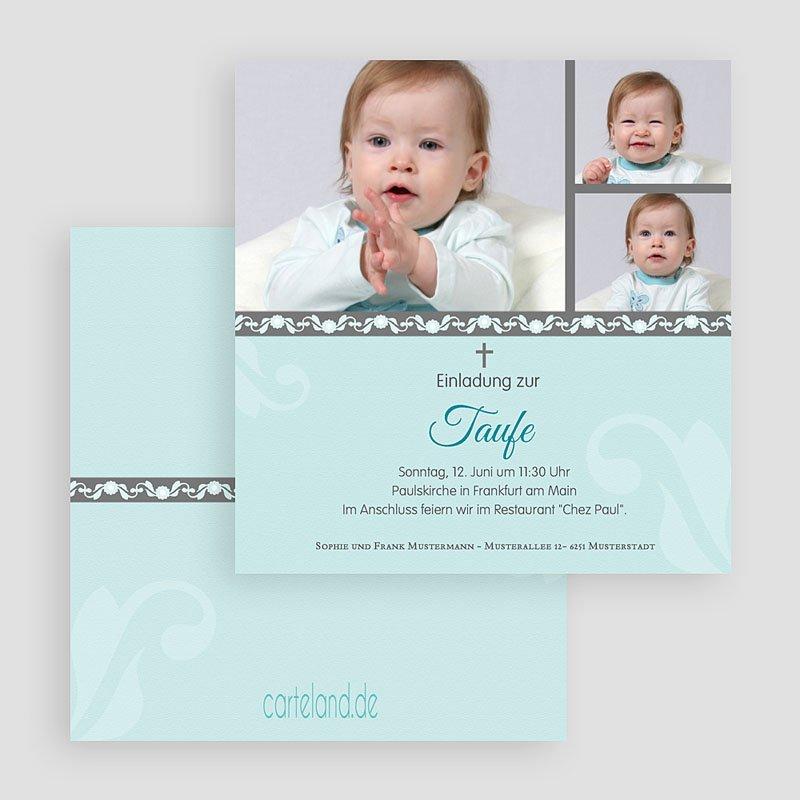 Einladungskarten Taufe für Jungen Blaues Design gratuit