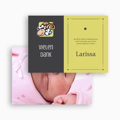 Dankeskarten Geburt Mädchen - Sternzeichen Widder 21920 preview