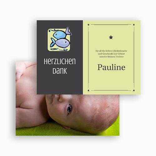 Dankeskarten Geburt Mädchen - Sternzeichen Fisch 21921 preview