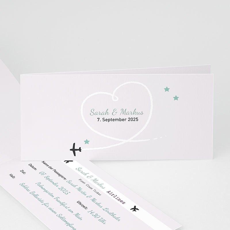 Hochzeitseinladungen Flugticket
