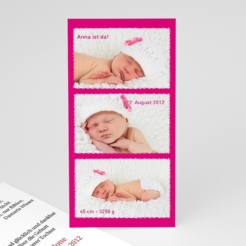 Geburtskarten für Mädchen Multifoto Pink