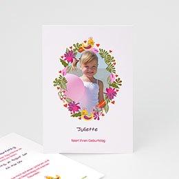 Geburtstagseinladungen Mädchen Blumiges Portrait