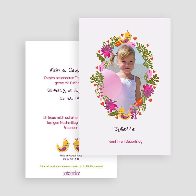 Geburtstagseinladungen Mädchen - Blumiges Portrait 22027 thumb