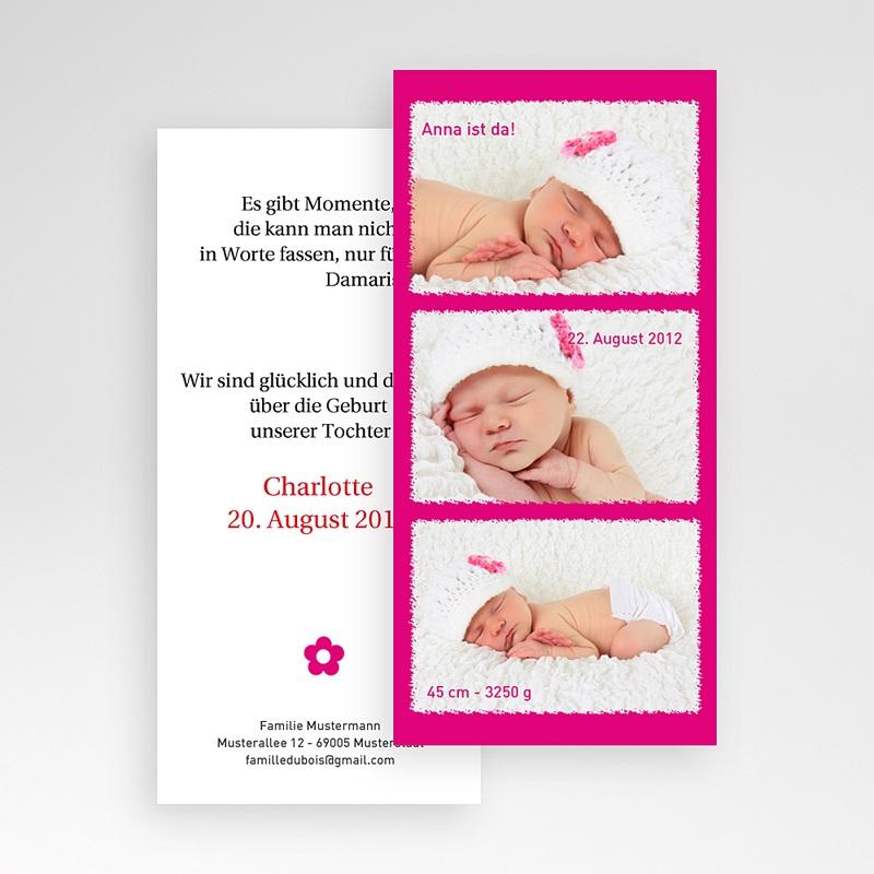 Geburtskarten für Mädchen Multifoto Pink pas cher