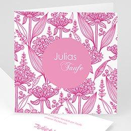 Einladungskarten Taufe Mädchen - Floral Rosa - 1