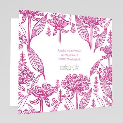 Einladungskarten Taufe für Mädchen Floral Rosa gratuit