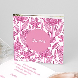 Dankeskarten Taufe Mädchen Floral Rosa