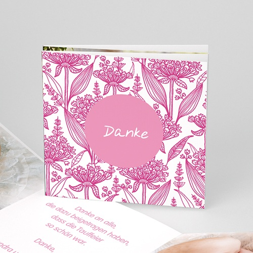 Dankeskarten Taufe Mädchen - Floral Rosa 22125