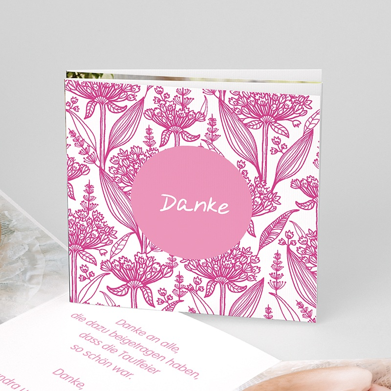 Dankeskarten Taufe Mädchen - Floral Rosa 22125 thumb
