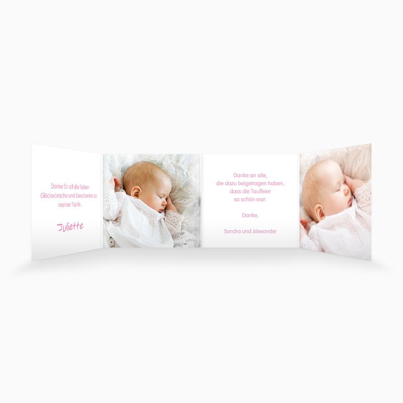 Dankeskarten Taufe Mädchen - Floral Rosa 22126 thumb