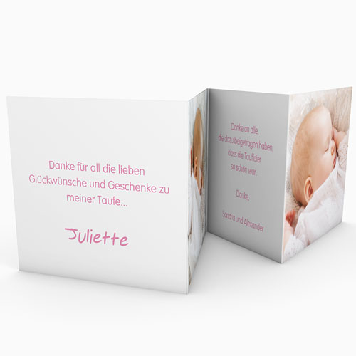 Dankeskarten Taufe Mädchen - Floral Rosa 22127 preview