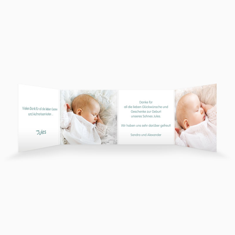 Dankeskarten Taufe Jungen - Floral Blau 22135 thumb