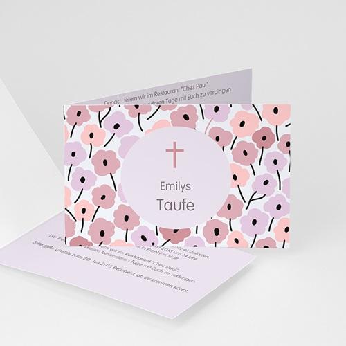 Einladungskarten Taufe für Mädchen Blumenbeet rosé