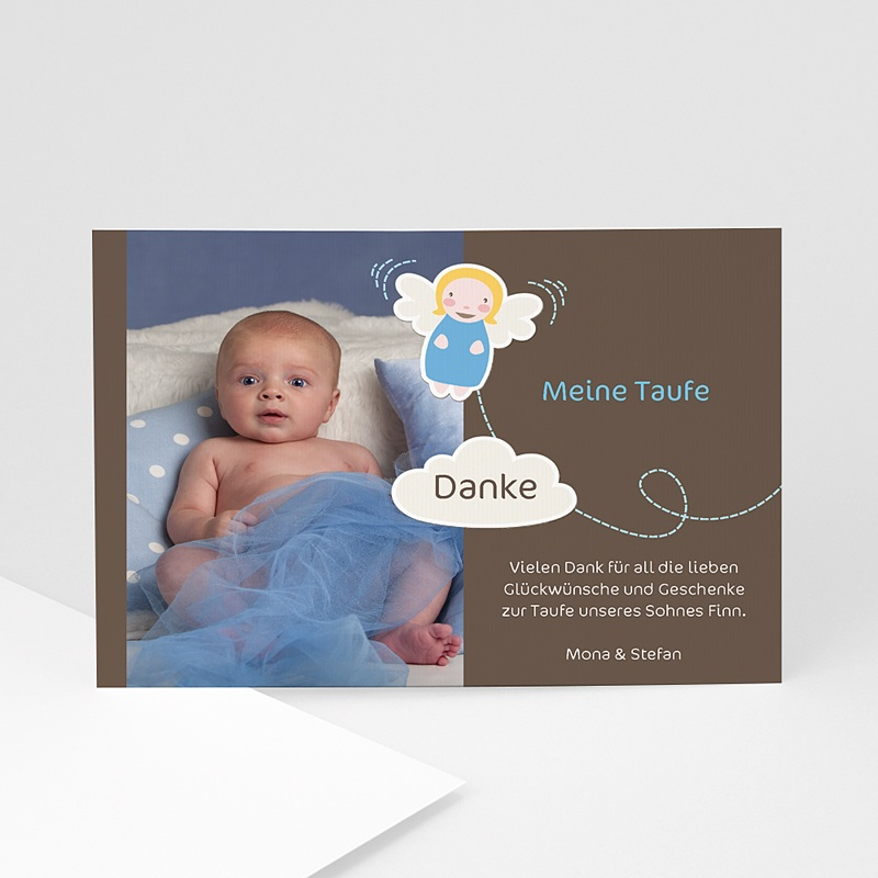 Dankeskarten Taufe Jungen Blue Angel