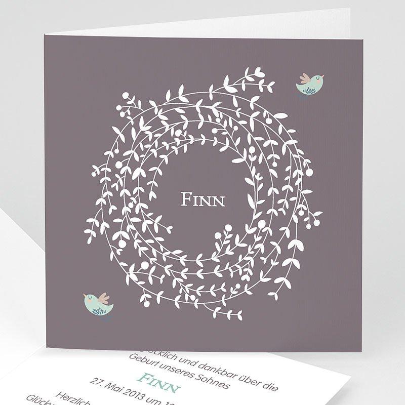 Geburtskarten mit Vogel Blumenkrone