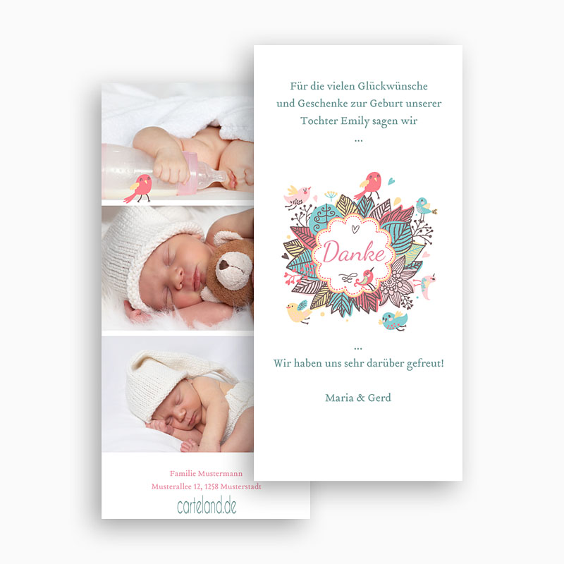 Dankeskarten Geburt Mädchen - Vogelkonzert 22482 thumb