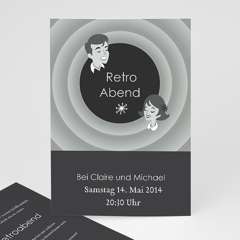 Erwachsener Einladungskarten Geburtstag Retroabend