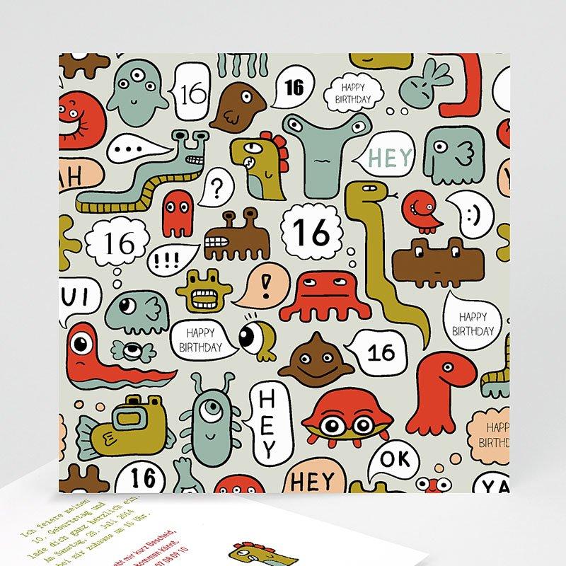 Geburtstagseinladungen Jungen - Kleine Monster 22507 thumb
