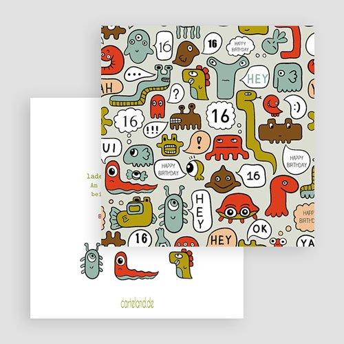 Geburtstagseinladungen Jungen - Kleine Monster 22509 thumb