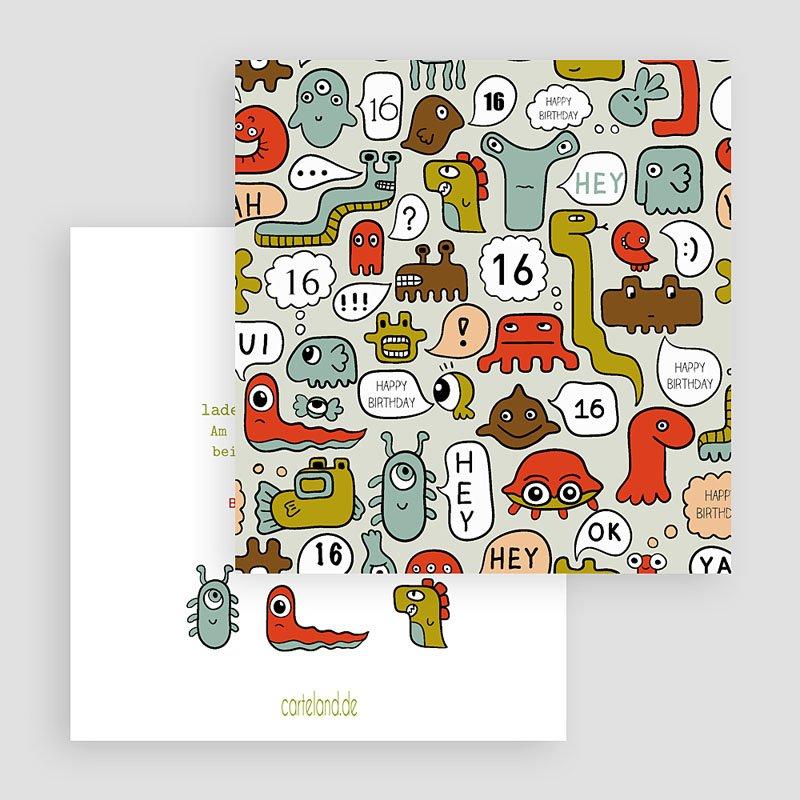 Einladungskarten Geburtstag Jungen Kleine Monster gratuit