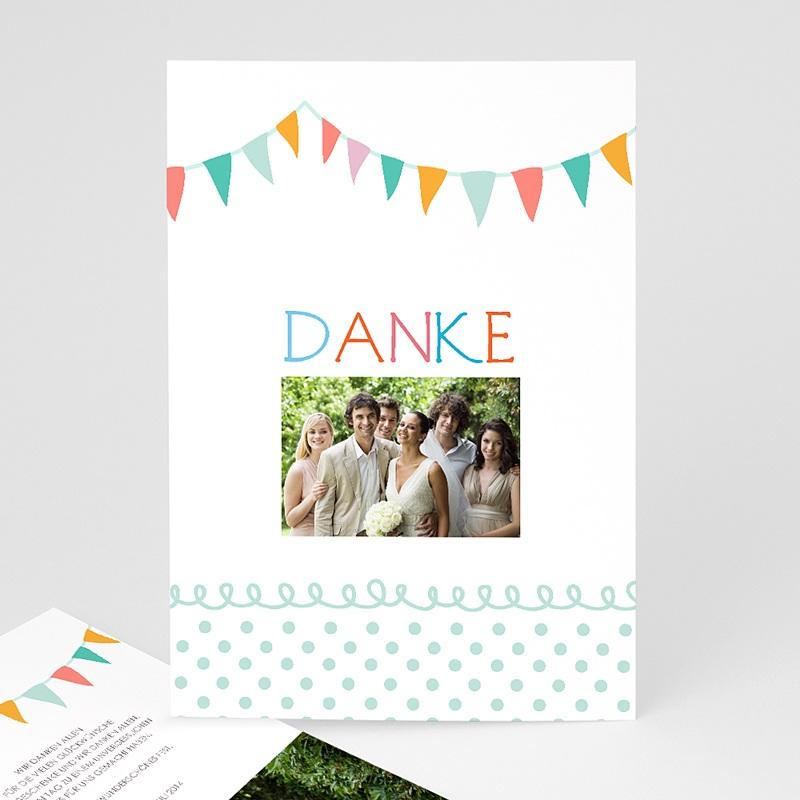 Danksagungskarten Hochzeit  Fähnchen pastell