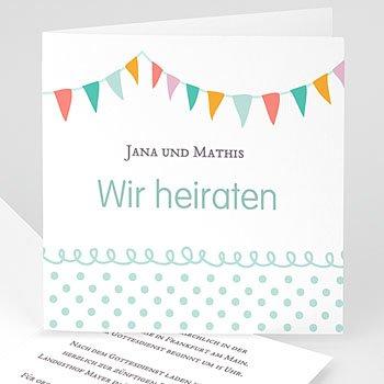 Hochzeitseinladungen modern - Fähnchen pastell - 1