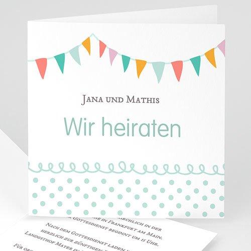 Hochzeitseinladungen modern - Fahnchen 22566