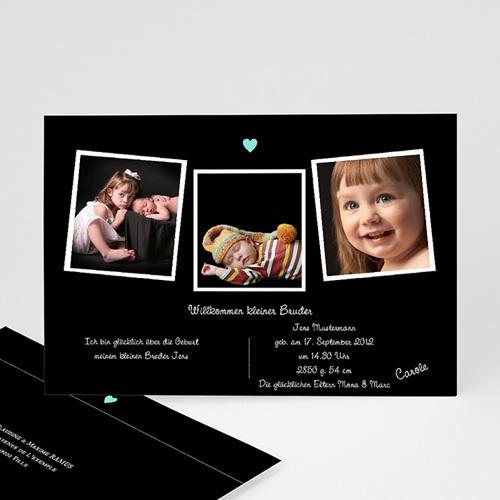 Geburtskarten für Jungen Fotoreihe schwarz