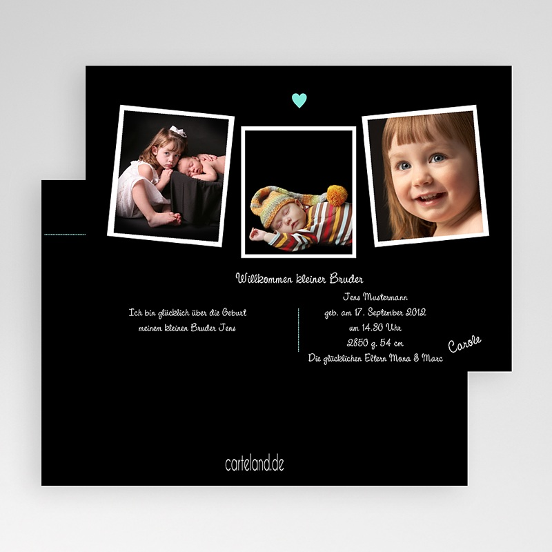 Geburtskarten für Jungen Fotoreihe schwarz gratuit