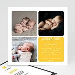 Karten Geburt Drei Fotos gelb