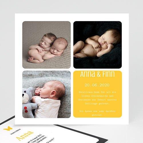 Geburtskarten für Mädchen - Drei Fotos gelb 2270