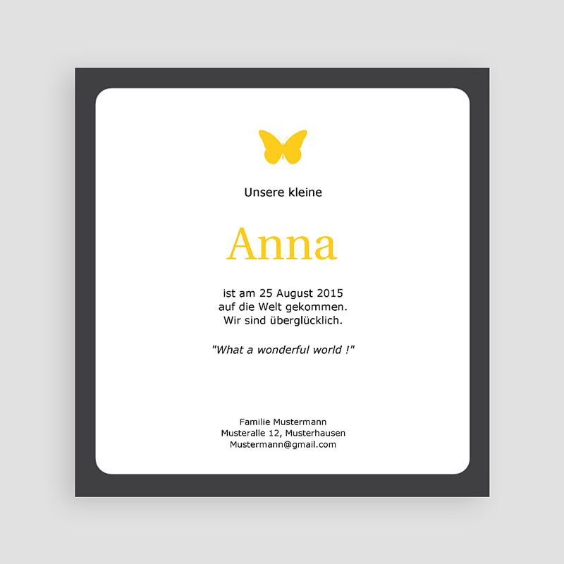 Geburtskarten für Mädchen Drei Fotos gelb pas cher