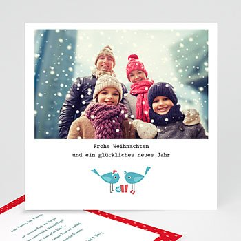 Weihnachtskarten - Türkisfarbene Vögel - 1