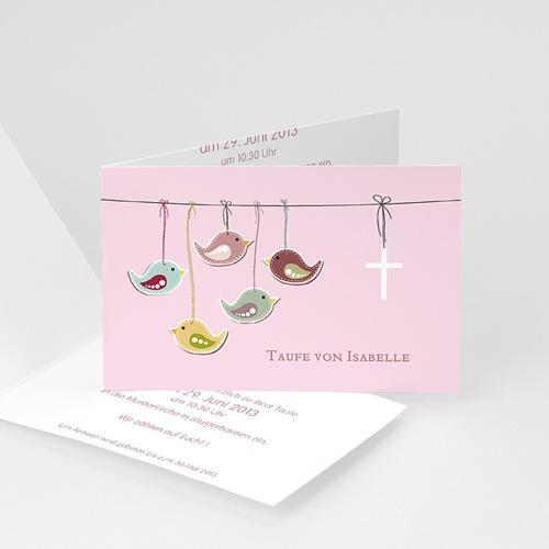 Einladungskarten Taufe Mädchen - Glücksvogel 22924 thumb