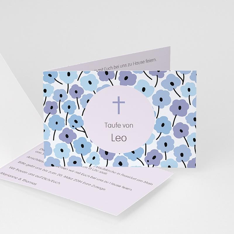 Einladungskarten Taufe für Jungen Blumen und Kreuz