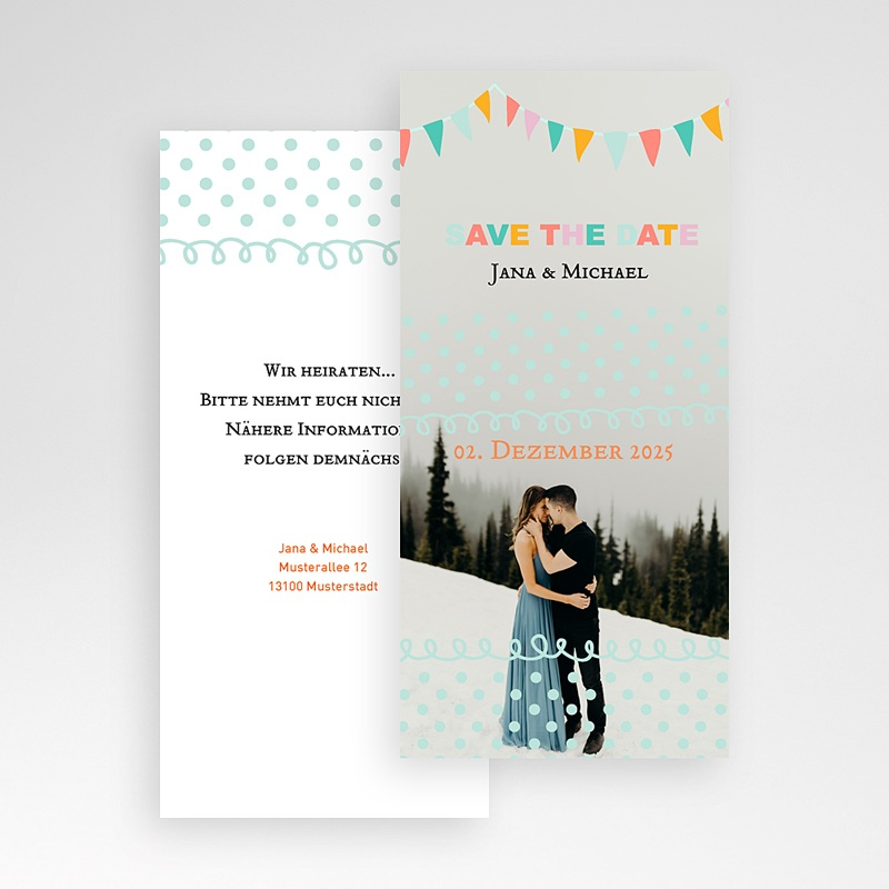 Save The Date Karten Hochzeit Fähnchen Pastell pas cher