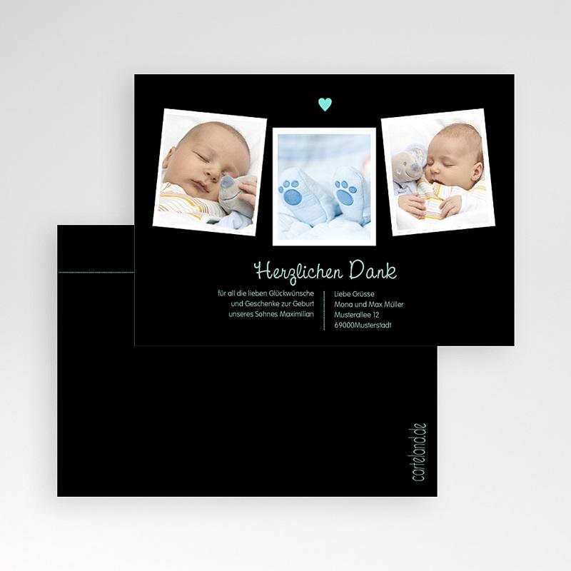 Dankeskarten Geburt für Jungen Herz Blau pas cher