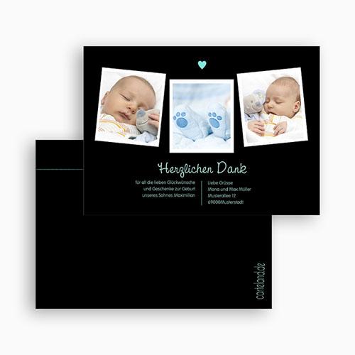 Dankeskarten Geburt Jungen - Herz Blau 23006 preview