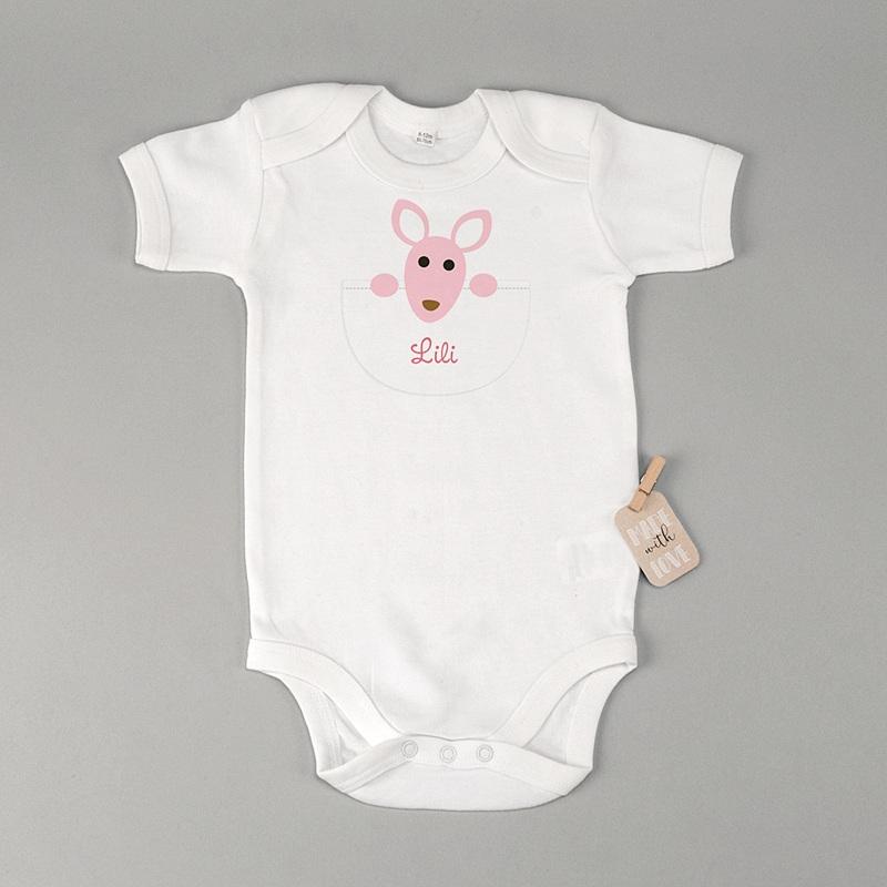 Personalisierte Baby Bodys Känguru Mädchen