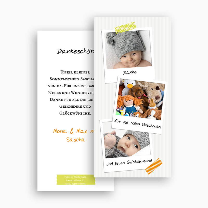 Dankeskarten Geburt Mädchen Polaroid gratuit